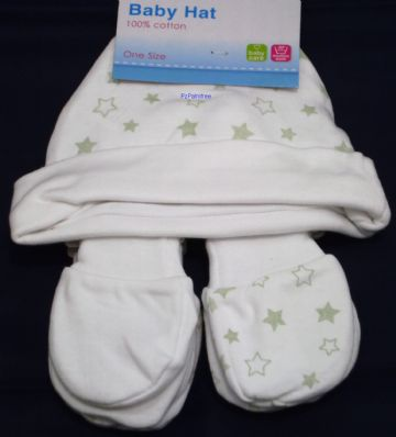 Baby 100% Cotton Beanie Hat & Mitts White